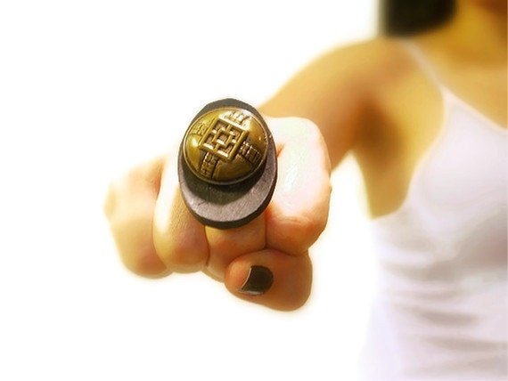 Vintage Button Ring, Bold, Retro Adjustable, Wood Button, Brass Vintage Chinese Button