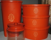 Retro Five Piece Orange Tupperware Canister Set