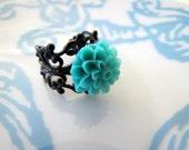 Petite Teal flower and black filigree ring