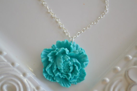 TEAL BLOOM--large teal pendant flower necklace