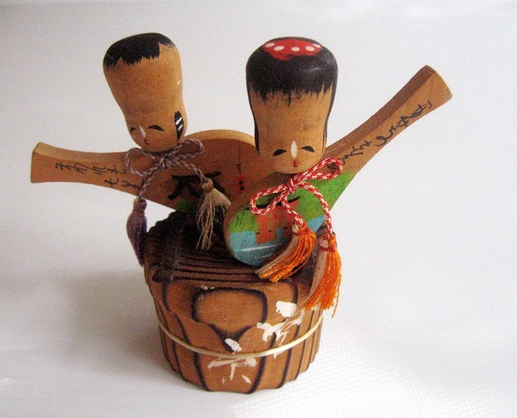 Vintage - Asian Hawaii Girl and Boy Musician Doll Ornament