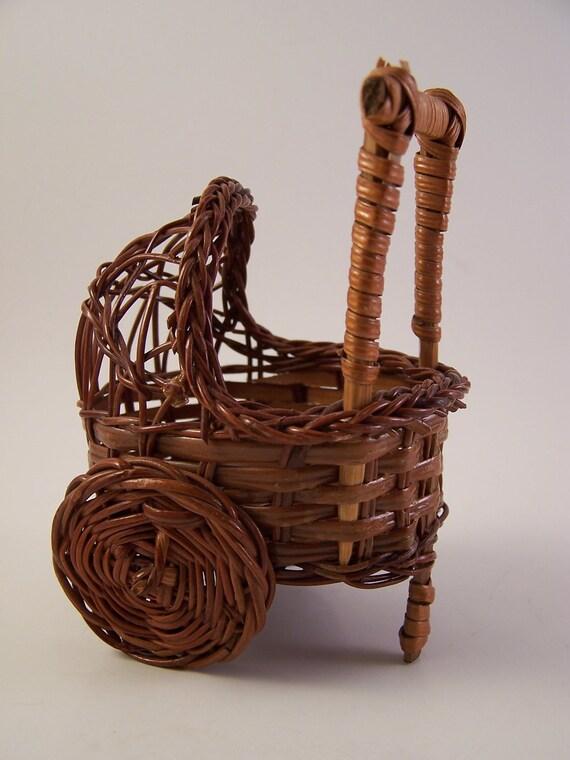 vintage miniature wicker stroller cradle brown doll house