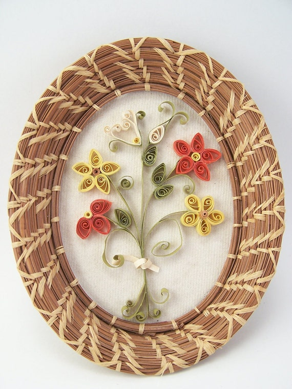 Vintage quilling oval wall hanging flowers art craft - Oval wall decor ...