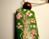 Hand Painted Spring Cherry Blossom Pendant Necklace