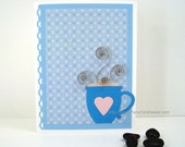 Warm Wishes Card Paper Quilled Mug Handmade