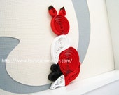 Items Similar To Quilled Fox Monogram F Room Decor On Etsy