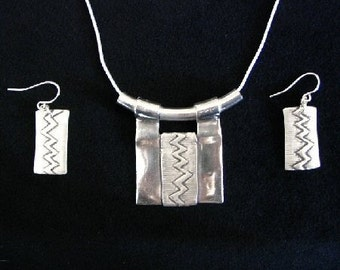 African Inspired PMC Silver Necklace with Matching Earrings