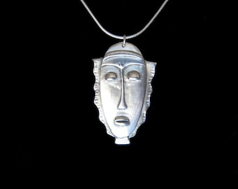 PMC Silver African Inspired Mask Necklace  Baule