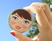 Retro Girl  pocket mirror -brown