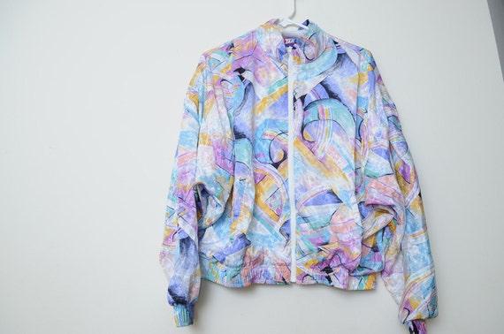 Reserved: Vintage Bright Colored Splashy Zip up Track Jacket