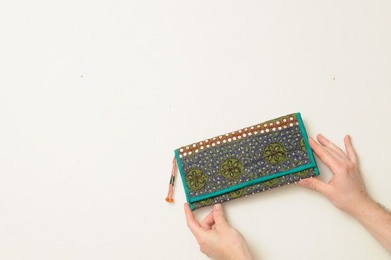 Vintage Ethnic Boho Sparkle Sequin and Bead Clutch Purse From India