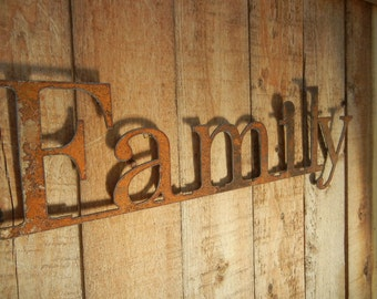 Family, Metal Word Art for Indoors or Outoors