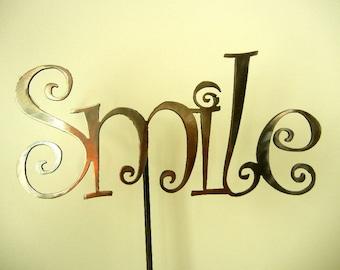 Smile, Metal Garden Stake