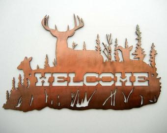 Deer Welcome, Metal Sign