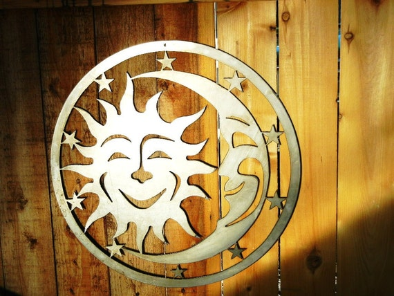 Sun, Moon & Stars Metal Art for Outoors or Indoors - Small