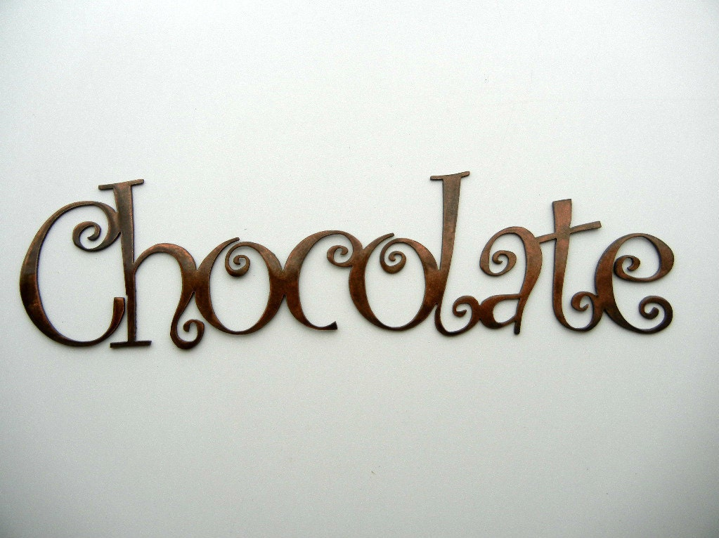 Chocolate Metal Word Art By Steelhouettes On Etsy