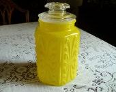 Vintage Retro Lemon Yellow Kitchen Canister Jar.