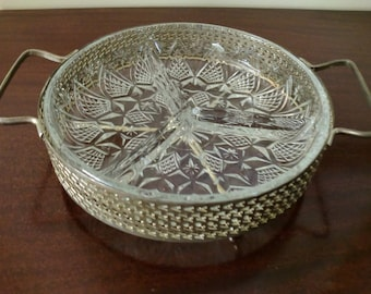 Vintage glass seving dish with silver base