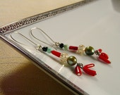 Party Under the Sea - FREE US SHIPPING Sea Green Pearl Red Coral Crackle Glass Teal and Black Beads On Silver Plated Kidney Hooks