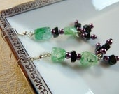 The Royal Treatment - Earrings Green Crackle Stones with Purple Pearls and Black Chip Beads