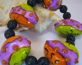 Chunky Faux Lampwork Handmade Polymer Clay Artisan Bead Bracelet