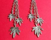 Dangling Marijuana Leaf Earrings