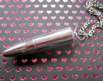Secret Stash Compartment Bullet Necklace