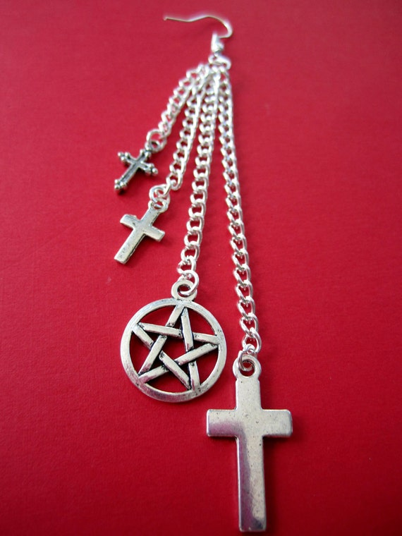 Crucifix Pentagram - Single Earring
