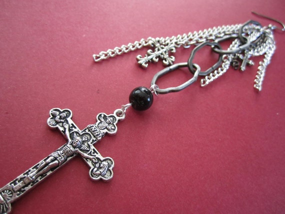 BLOWOUT SALE  Long Chain Crucifix Earring - Single