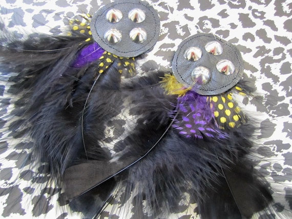 CLEARANCE SALE Purple and Yellow Studded Leather Feather Earrings