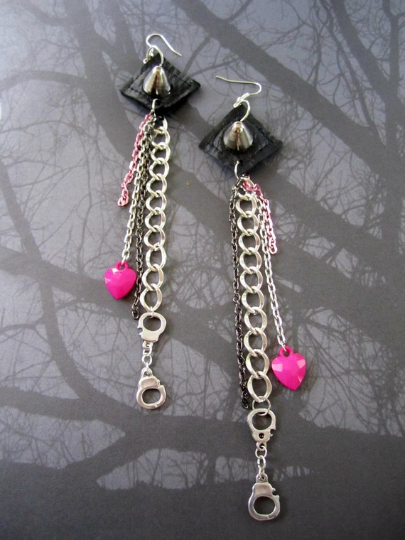 Long STUDDED Leather Handcuffs and Hearts Chain Earrings OOAK