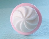 WHIPPED CREAM ON TOP Strawberry Cream Cake Vintage Button Ring Pink and White