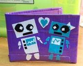 Purple robot love Duct Tape Wallet
