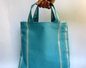 tote pan am inspired mod vintage sky blue textile OOAK all purpose sewn by greenbugbags on etsy