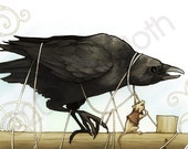 Tangled Crow and Helpful Mouse - 4x6 art print
