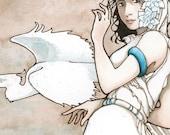 "SECONDS SALE - Slightly Imperfect Print - Woman, Herons, art nouveau ""Messengers"""