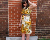 "Women's Aline Dress- The ""Sugar and Spice"" Yellow Floral Dress with Lace Pockets"
