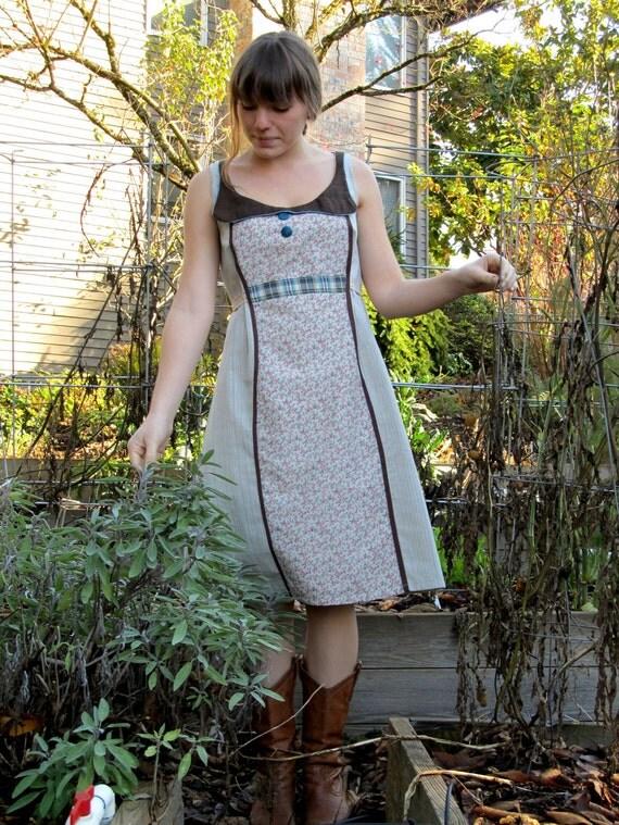 """Women's A Line Dress- The """"Sweet Georgia Brown"""" Prairie Chic Dress"""