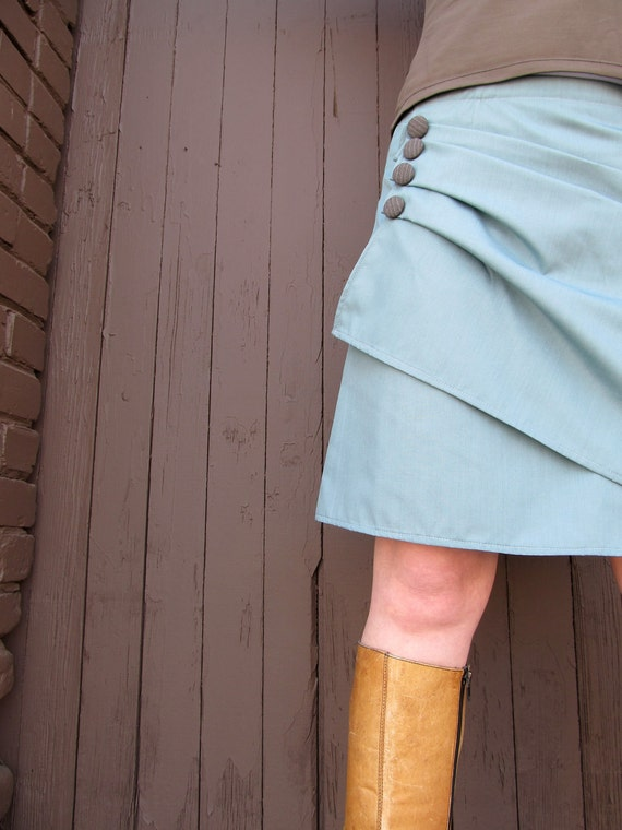 "Women's Wrap Skirt- The""Hazel"" Sky Blue Teal wrap skirt with Brown Striped Buttons"