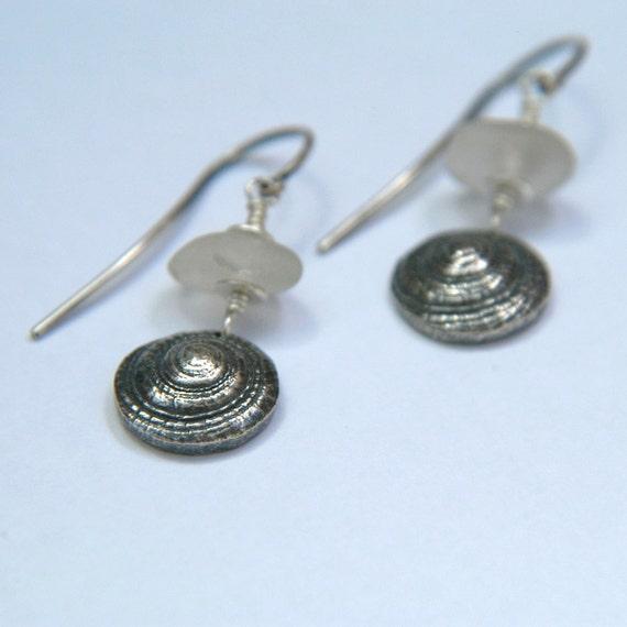 SALE OOAK Fine silver Handmade Shell Earrings with Clear Seaglass - cute factor 10
