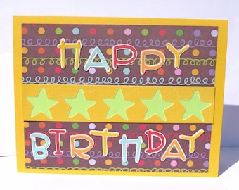 Happy Birthday Greeting Card - For Kids or Adults - Handmade Paper Card with Coordinating Embellished Envelope