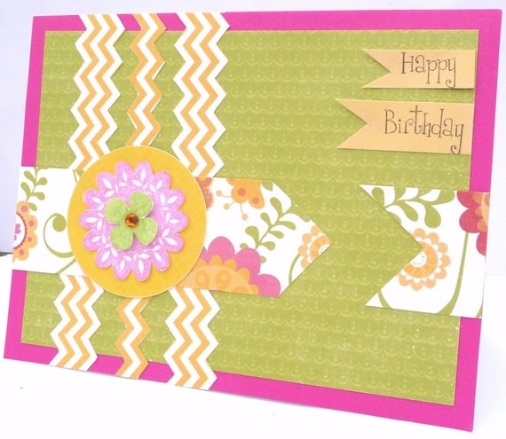 Happy Birthday Greeting Card - Fun and Festive Card for Her, Handmade Paper Card