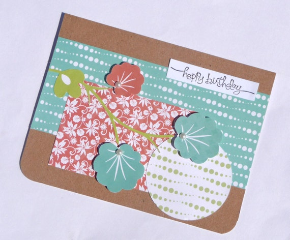 Tropical Happy Birthday Greeting Card - Perfect for Her, Handmade Paper Card