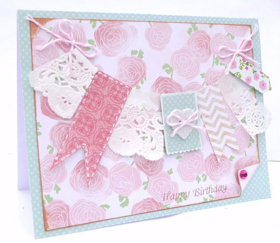 Shabby Chic Happy Birthday Card - Handmade Greeting Card for Her, Paper Card