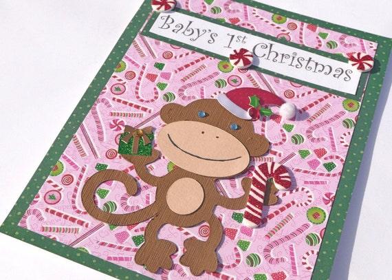 Baby's First Christmas Handmade Greeting Card - Monkey
