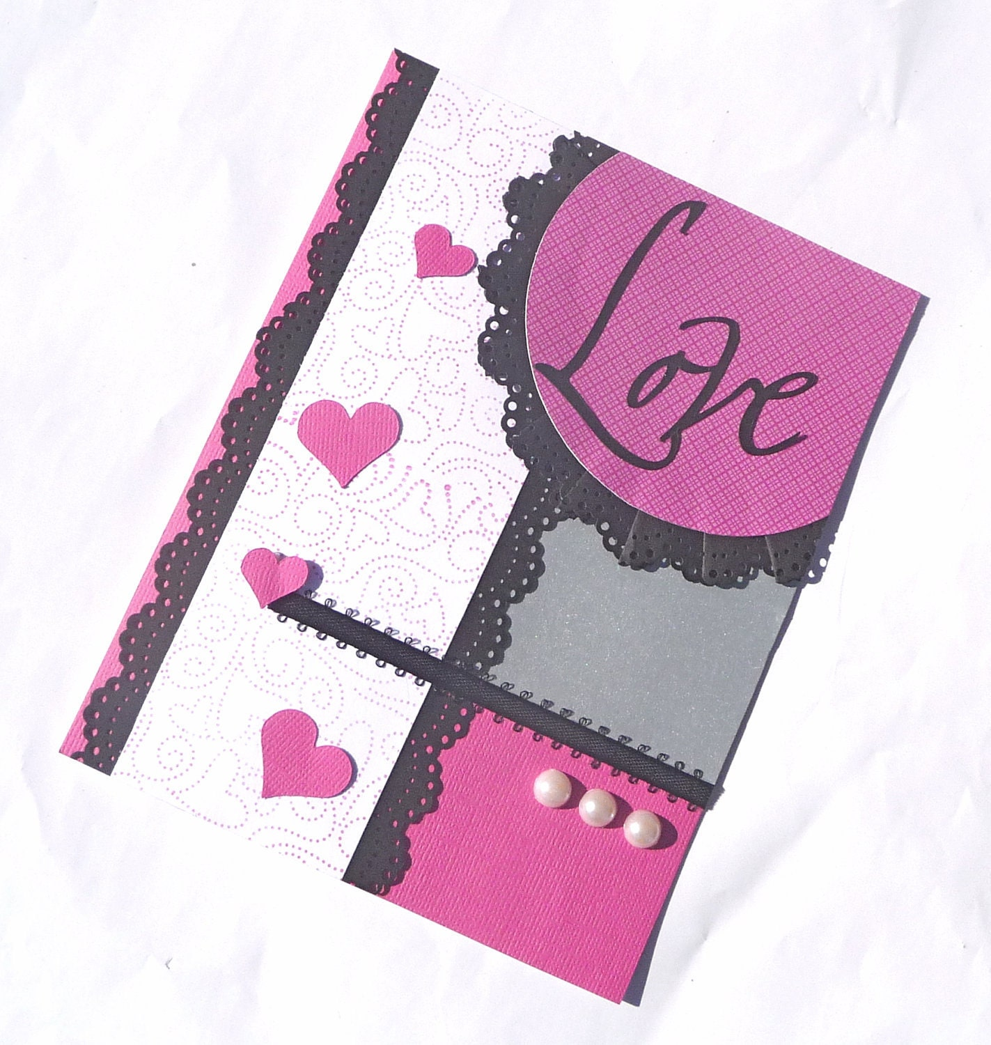 Happy Valentines Day LOVE Handmade Greeting Card – Handmade Greeting Cards for Valentine Day