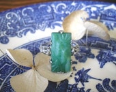 1930s Silver and Jade coloured Art Deco Ring