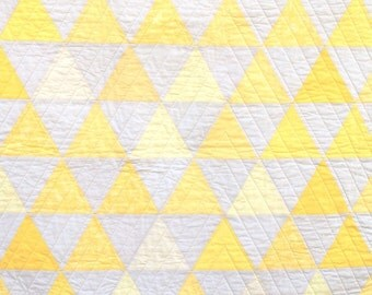 SALE- 10% off -Yellow Equilateral Triangles Quilt - Yellow and Ivory - Lap or Large Crib Size