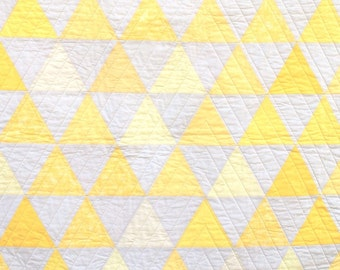 Yellow Equilateral Triangles Quilt - Yellow and Ivory - Lap or Large Crib Size