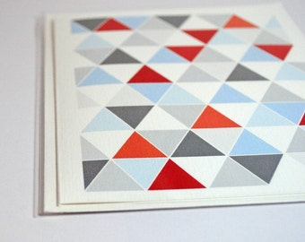 Red, White, Blue, and Gray Triangle Card